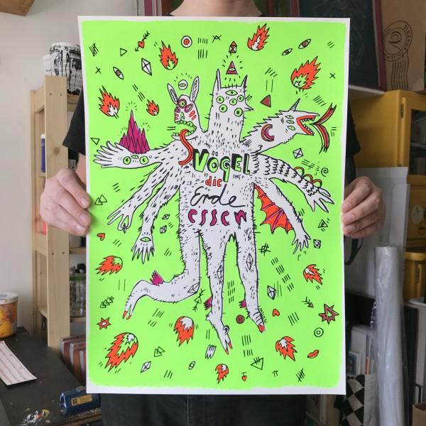 Vögel die Erde essen - Muah - Siebdruck Poster